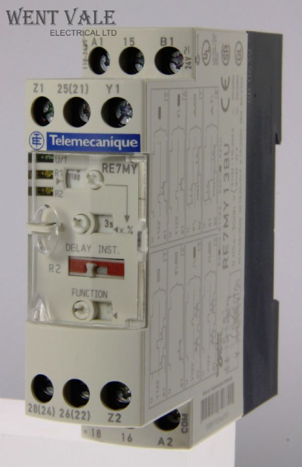 Telemecanique Zelio - RE7MY13BU Multifunction Timer Relay Coil 24VDC 110-240VAC